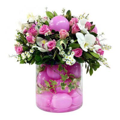 Βάζο-σωλ.-με-σύνθεση-από-τριαντάφυλλα,-ορχιδέες-και-κισσό