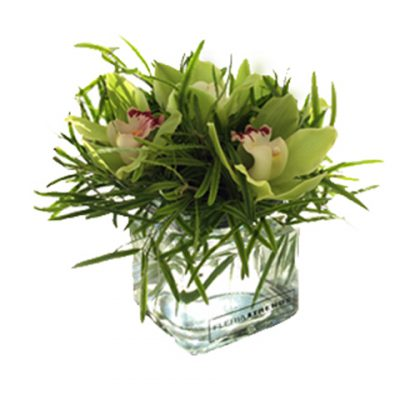 square glass vase with orchids arrangement