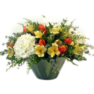 glass vase with hydrangeas and alstroemerias