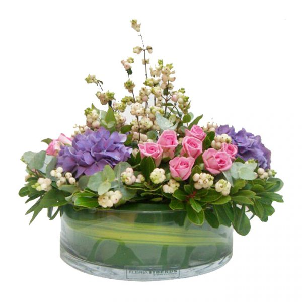 Hydrangeasroses And Snowberries Arrangement Fleria